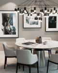 Stilrent och skandinavisk inredning med bordsgrupp och snyggt hängande taklampa