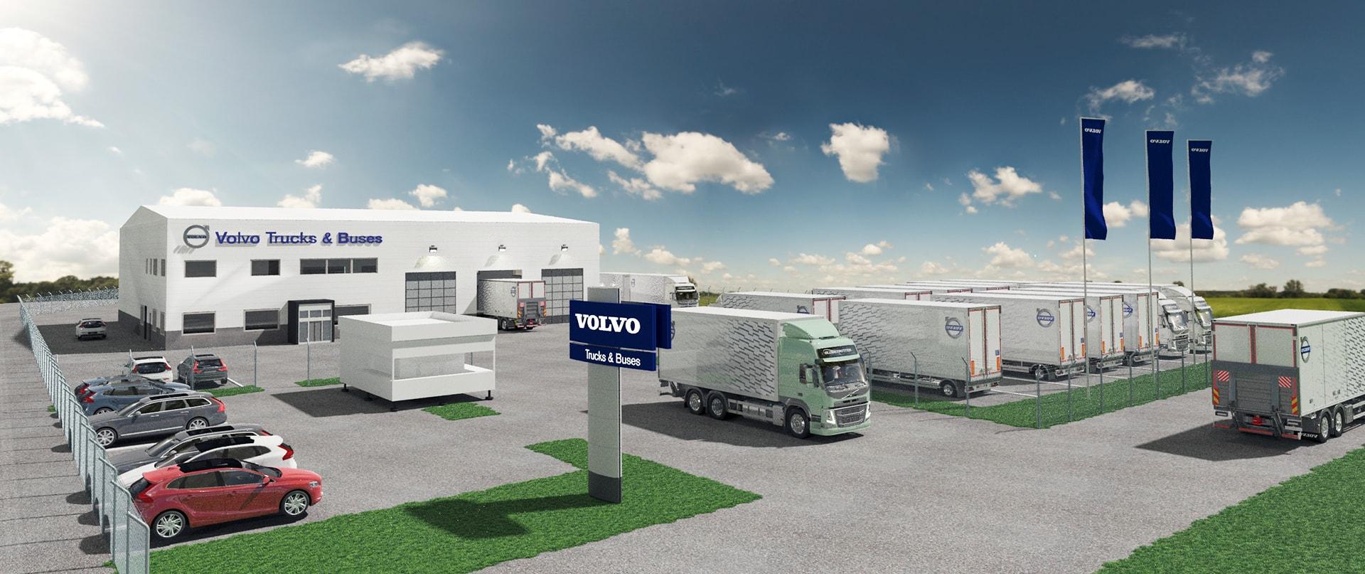 3D-visualisering över anläggning för AB Volvo